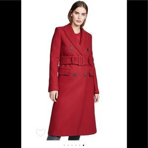 Helmut Lang double breasted red wool belted coat